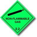 Niet-brandbaar gas 2.2 - Vinyl etiketten 100 x 100mm Diamant (ADR & UN Complient Sticker) 100mm x 100mm Groen