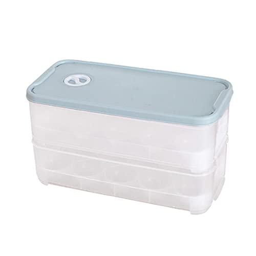 Portauova Bagagli Vassoio Frigo Contenitore Uova Box Impilabile Doppi Strati 20 Fori Con Coperchio Cucina Forniture Stoccaggio Uovo Blu Per La Cucina