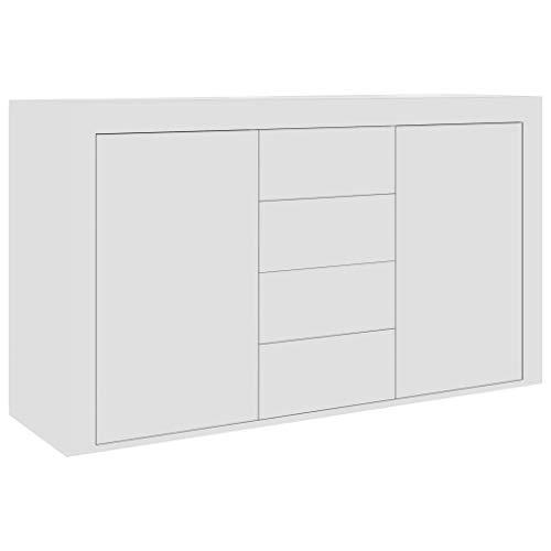 Festnight Aparador de Aglomerado Moderno Aparador de Madera para Salón Blanco 120x36x69 cm