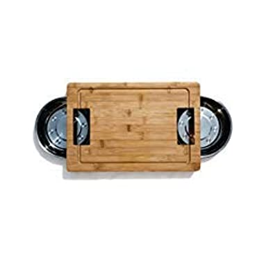 Unique Bamboo Cutting Board with Stainless Steel Clearing Bowls, Best Cutting Board, Makes Prep Fun, Wood Cutting Board, Chopping Board, Easy Kitchen Use, Vegetable Slicing Board with Metal Trays