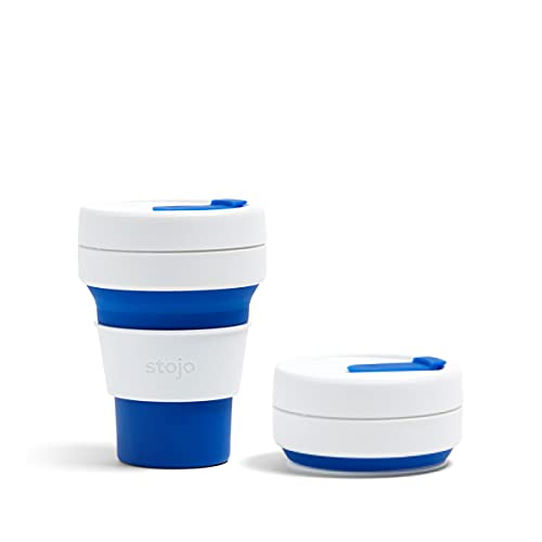 STOJO Pocket Cup Collapsible Silicone Pocket Cup, Pocket Cup 12oz, Blue, S1-BLU