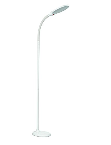 EASYmaxx 07376 LED-Standleuchte Daylight - Tageslichtlampe, Augenschonend, Energiesparend - 15 Farben, 4 Helligkeitsstufen, flexibler Lampenhals, mit Fernbedienung - Weiß