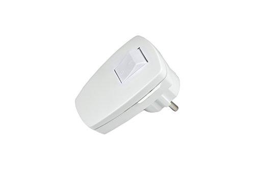 Schutzkontakt-Winkelstecker Kunststoff mit Schalter 230 V Weiß IP20 (Weiss Shalter)