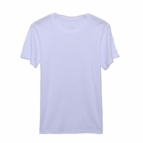 N\P Camiseta de manga corta de algodón para hombre y mujer con cuello redondo