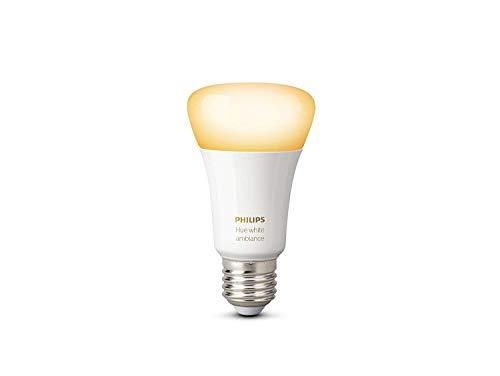 Philips Hue White Ambiance - Bombilla LED individual (1 x 9.5 W, E27, iluminación inteligente - tonos de luz blanca cálida y fría regulable, compatible con Apple Homekit y Google Home)