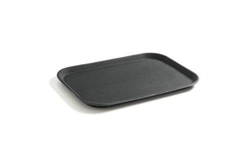 HENDI Serviertablett, Tablett, Temperaturbeständig bis 80°C, Gastro Tablett, rechteckig, Gummi-Antirutschbeschichtung, Schock- und bruchfest, Polypropylen,255x355mm, Schwarz