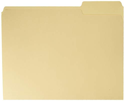 Office Depot File Folders, 1/3 Tab Cut, Letter Size, Manila, Pack of 100, OD752 1/3