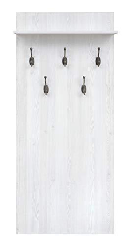 Boardd - Perchero de pared de madera para entrada, pasillo Porto con 5 ganchos y estante, 66 x 152 x 21,5 cm