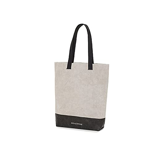Moleskine Go Shopper Borsa in Carta Personalizzabile con Manici in Cotone Nero, Dimensione 28 x 40 x 8 cm, Bianco