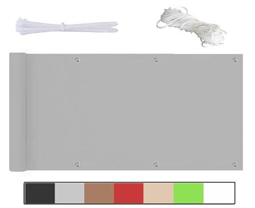 Frangivista,frangivista Giardino,poliestere Densità 185 G ㎡ Telo Frangivento Per Balconi Impermeabile,per Balcone Giardino Terrazza,viene Fornito Con Fascette Per Cavi E Fune-Grigio chiaro-60x500cm