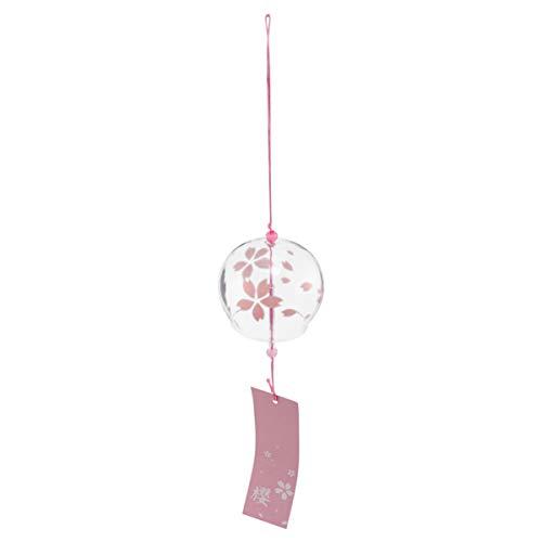 Amosfun Japanisches Windspiel aus Glas für drinnen und draußen, Terrasse, Garten, Zuhause, hängende Dekorationen (Kirschrosa)
