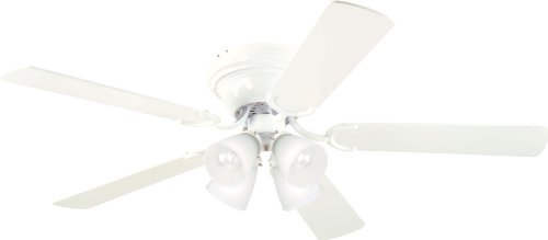 Westinghouse Lighting 7871500 Contempra IV Four-Light 52-Inch Five-Blade Indoor Ceiling Fan, White with Frosted Ribbed-Glass Shades