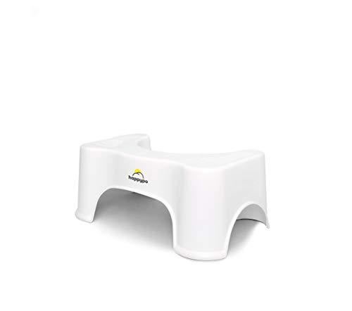HappyPo Toilettenhocker | Bei Hämorrhoiden, Verstopfung, Reizdarm, Blähungen, Blähbauch – schonende, schnellere Erleichterung durch ärztlich empfohlene Sitzhaltung