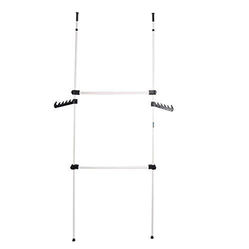 Clothes Rack,2 Poles 2 Bars Heavy Duty Drying Rack Foldable Telescopic Coat Hanger DIY Wardrobe Organiser Cloth Garment Rack Stainless Steel Poles and Bars,Adjustable 281cm - 329cm