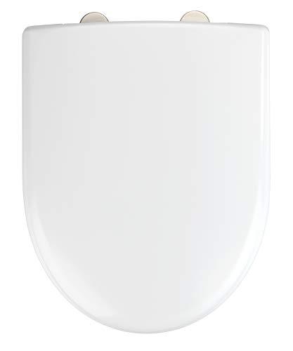 WENKO WC-Sitz Exclusive Nr. 7 - Antibakterieller Toiletten-Sitz mit Absenkautomatik, Duroplast, 36.5 x 45.5 cm, Weiß