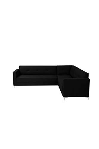 FINLANDEK Canapé d'angle NYKYAJAN 4 places - Simili noir - Contemporain - L 255 x P 212 cm