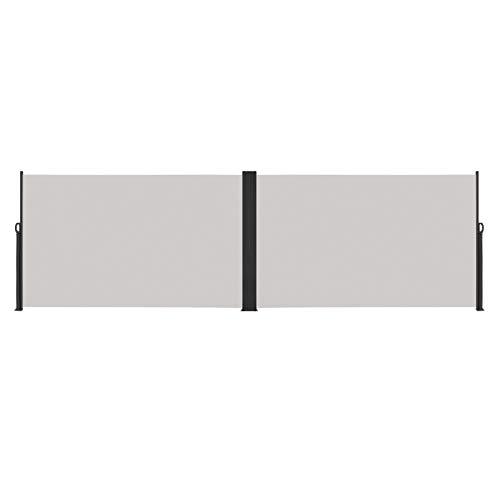 LARS360 Toldo Lateral Retráctil de Alumínio Anti-UV Marquesina Lateral Persiana Lateral, Protección Solar para Jardín, Terraza y Balcón (200x600cm, Gris)