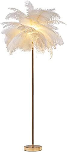 HIGHKAS Wohnzimmer Schlafzimmer Büro Flur, Feder Stehlampe, 1,55M hoch Nordic White Natural Strauß Haar Stehlampe, Metall Electropl