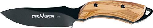 Cuchillo Fox European Hunter 1502 OL Hoja de Acero N690Co Tipo Drop-Point de 9,5 cm y empuñadura de Olivo de 11,5 cm para Caza, Pesca, Supervivencia y bushcraft + Portabotellas Regalo