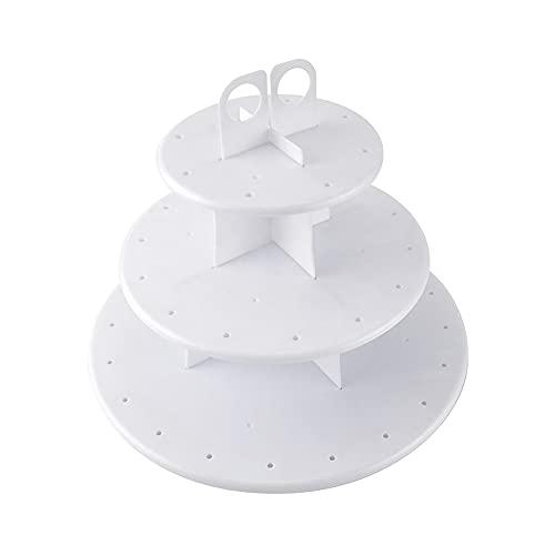 YeenGreen Soporte de Tartas, 3 Niveles Puesto de Pasteles Redondo Plástico Soporte para Cupcakes para Cumpleaños, Fiesta, Banquete, Boda, Navidad