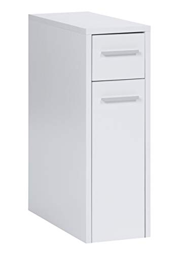 ts-ideen Apothekerschrank Badregal Standregal Küchenregal Weiß Ausziehbar Rollwagen 62 x 21 cm