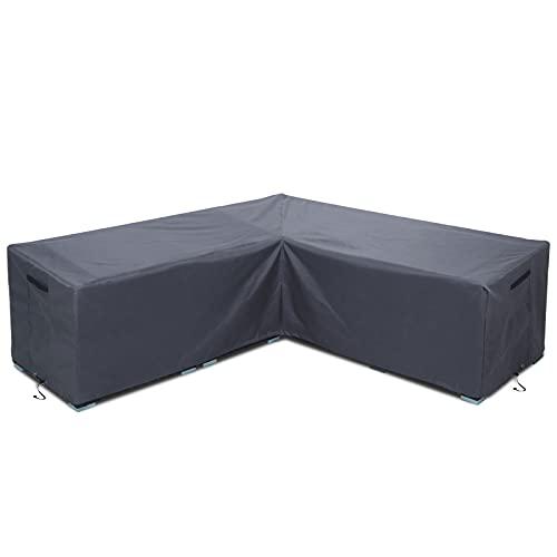 WISCLASS Garden Furniture Covers L Shaped Waterproof 420D Heavy Duty Garden Corner Sofa Covers, Dark Grey (270x270x90 cm)