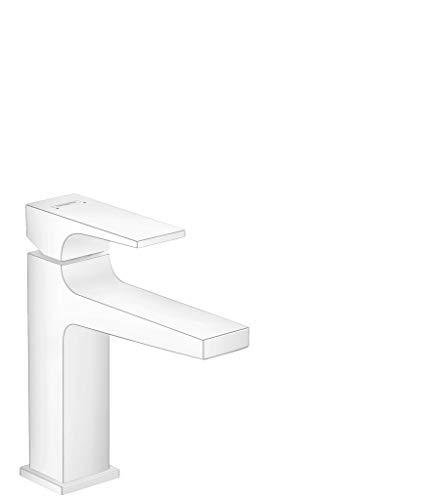 Hansgrohe - Rubinetto Metropol, a risparmio idrico, altezza comfort 110 mm, con scarico push-open, bianco opaco