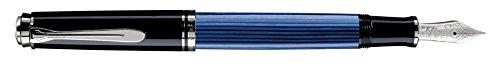 Pelikan 933432 Kolbenfüllhalter Souverän M 805 mit rhodinierter Goldfeder 18-K/750 Federbreite M, 1 Stück, schwarz/blau