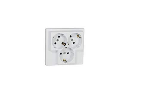 Toma de corriente empotrable con 3 enchufes, protección de contacto, IP20 (5305)