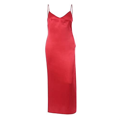 Vestido De Cuello En V Satinados Mujeres Sin Espalda Lado Sin Espalda Vestido Largo Vestido De Primavera Vestido De Señora 1033 (Color : Red, Size : Small)