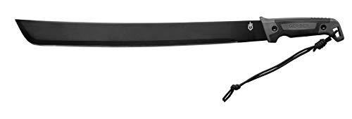 Lama in Acciaio al Carbonio da 46 cm, Larghezza 4.5 cm e Spessore 3.5 mm Lunghezza totale 59.3 cm Impugnatura in polipropilene, fodero in nylon incluso Ottima per cacciatori, escursionisti, esploratori