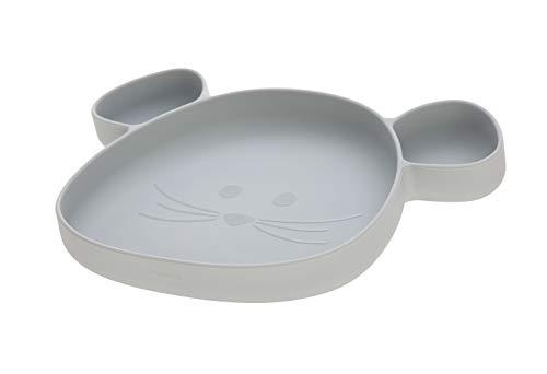 LÄSSIG Silikon Kinderteller mit Saugnapf unterteilt/Little Chums Mouse grey