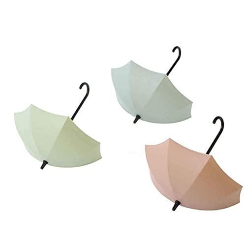 3 Unids/Set Gancho de Pared con Forma de Paraguas Creativo Colorido Llavero Soporte de Percha Gancho de Pared Organizador de Cocina Accesorios de Baño (Color: Beige + Blanco + Gris)