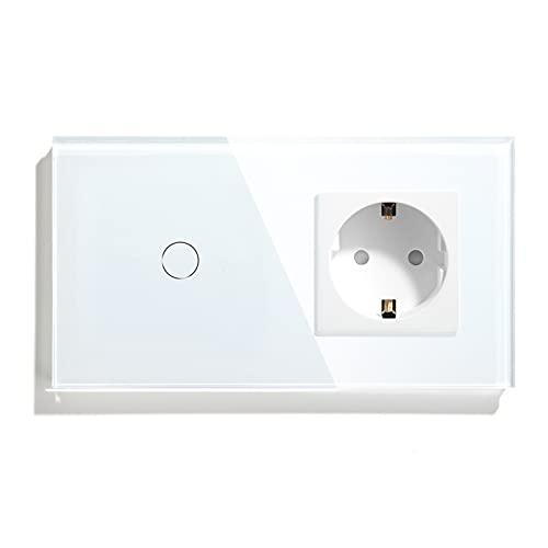 BSEED Normal Steckdose mit Smart Alexa Lichtschalter Kompatibel mit Alexa,Google Home, Glas Touchscreen-schalter,Smart Lichtschalter 1 Fach 1 Weg 16Amp Steckdose Weiß (Neutrale Leitung benötigt)