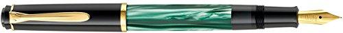 Pelikan 983403 Kolbenfüllhalter Classic M200, vergoldete Edelstahlfeder, M, grün-marmoriert