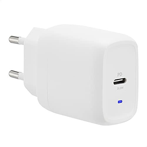 Amazon Basics - Cargador de pared con un puerto USB, de 30W, con tecnologías GaN y protocolo de carga Power Delivery, para tabletas y móviles, color blanco