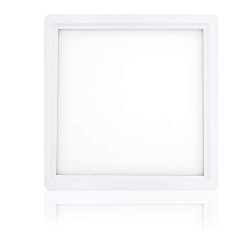 Plafón Techo LED Downlight 24W GNETIC GLASS Cuadrado Blanco 1920LM Color Blanco Frío 6000K Angulo 120 Opal Aluminio Ø300 mm x 35 mm 30000h Equivalente a 240W [Eficiencia energética A+] Pack x1