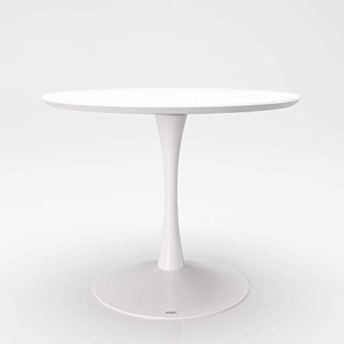 PLAYBOY runder Esstisch 100x100cm mit Säulenfuss, weiss matt lackiert, Rundtisch, Besprechnungstisch mit 1 Fuss, weisser Tisch, Esszimmermöbel, Esszimmer, Speisen, Speisezimmer