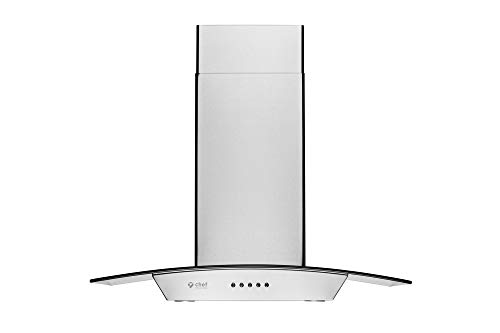 Hauslane | Chef Series Range Hood WM-630 30' Wall Mount Range Hood | European Style with Stainless Steel and Tempered Glass | 3 Speed, 750 CFM, LED Lamps | Ducted or Ventless