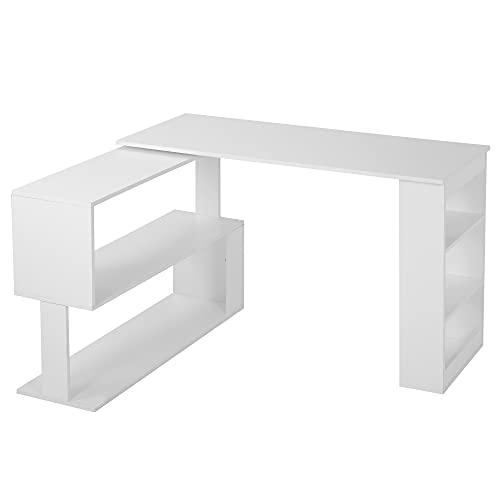 ZOEON Schreibtisch L Form - Eckschreibtisch mit Offene Ablagen - Computertisch 360 Grad Drehbar - Bürotisch für Home Office (Weiß)