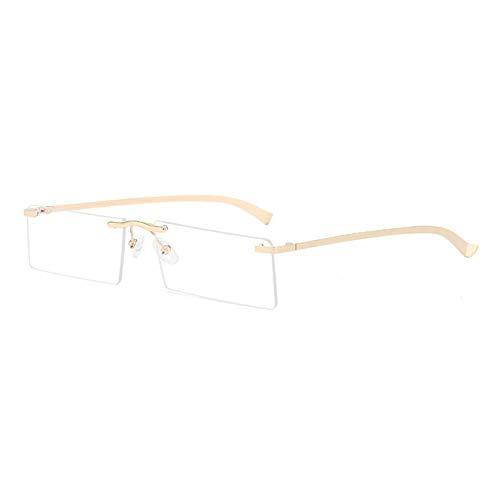 ZZOW Gafas De Sol Rectangulares Pequeñas A La Moda para Mujer, Gafas De Sol Vintage Sin Montura Transparentes con Lentes De Océano para Hombre, Gafas De Sol Azules, Amarillas Y Rosas, Uv400
