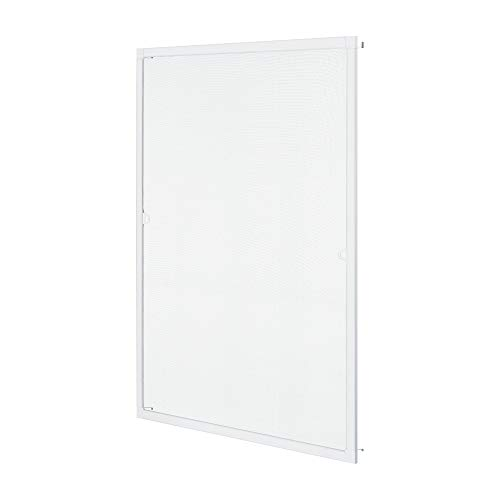 pro.tec Fliegengitter für Fenster 100x120cm Insektenschutz Fenstergitter mit Alurahmen Fliegenschutzgitter ohne Bohren Fliegenschutz zuschneidbar Weiß