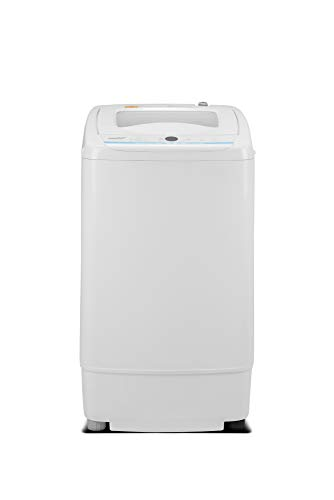Comfee Portable Washing Machine, 0.9 cu.ft Compact Washer With LED Display, 5 Wash Cycles, 2 Built-in Rollers, Space Saving Full-Automatic Washer, Ideal Laundry for RV, Dorm, Apartment, Ivory White