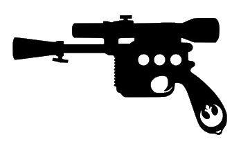 Han Solo Blaster Sticker Star Wars negro calcomanía vinilo | Cars Trucks Vans Walls Laptop| Negro | 5.5 x 3 pulgadas | LLI679