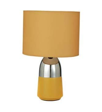 New Elegant Duno Mustard & Chrome Touch Table Bedside Lamp Desk Lamp Perfect for Your Bedroom Living Room