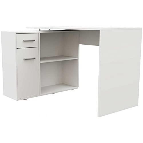 ADGO Elena - Mesa de ordenador modular con 2 estantes, 1 armario, 1 cajón, mesa de oficina con espacio de almacenamiento, escritorio para trabajo, oficina, estudio (envío en 2 paquetes) (mate blanco)