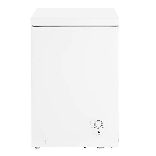 Smad 3.5 Cu. Ft. Chest Freezer Portable Small Freezer Deep with Basket for Home Kitchen Restaurant Hotel Ice Cream Shop Grocery Store, White