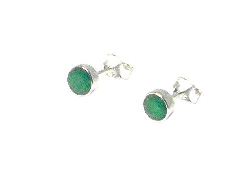 Art Gecko EMERALD - Pendientes de plata de ley 925 redondos con piedras preciosas verdes (5 mm) (EMST0610171)