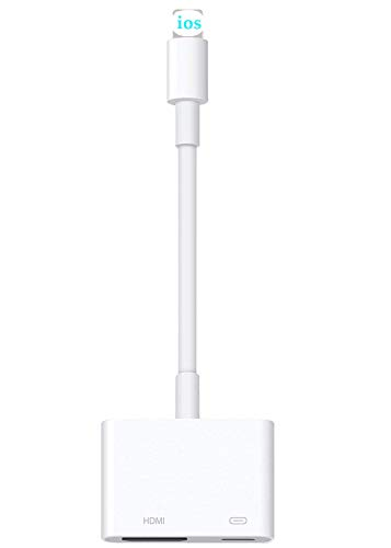 Lighting to HDMI Adapter, HDMI Adapter Compatible with i-Phone 11/11 Pro/11 Pro Max/XS/XR/X/8/7, 1080P HDMI Digital AV Adapter with Charging Port Compatible with Phone/Pad, Power Supply Needed (White)