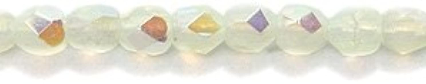 Preciosa Czech 3-mm Fire-Polished Glass Bead, Faceted Round, Opal Light Yellow Aurora Borealis Finish, 200/pack